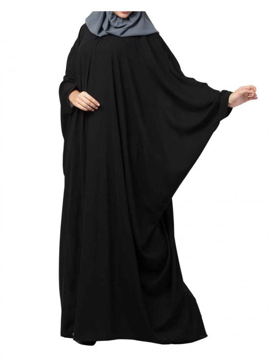 Nida Matte Simple and Elegant Islamic Kaftan Abaya With Pleats on Neck In Black