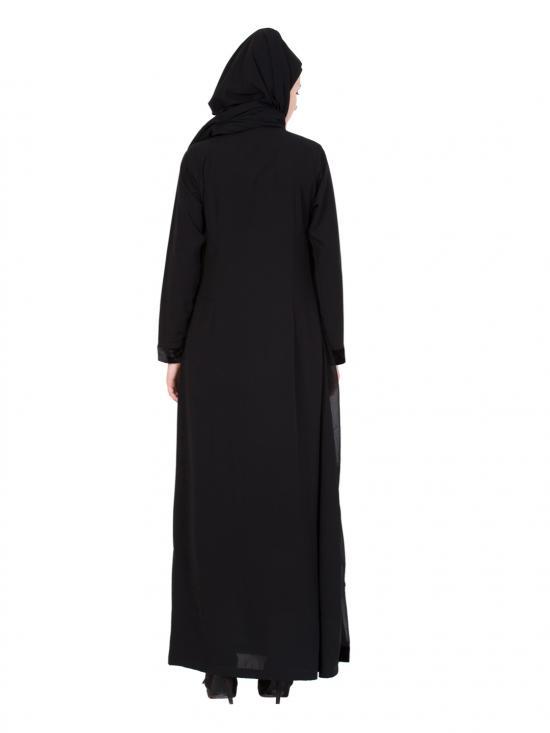 Nida Matte Georgette Designer Pleated Abaya in Black