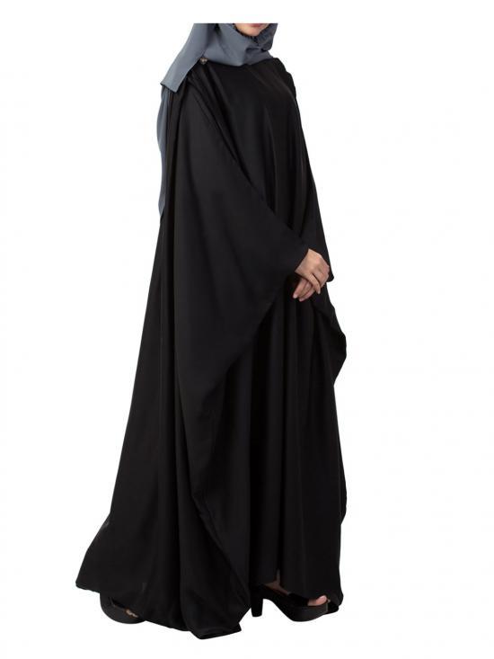 Nida Very Elegant Islamic Abaya Kaftan With Pleats On Shoulders In Black