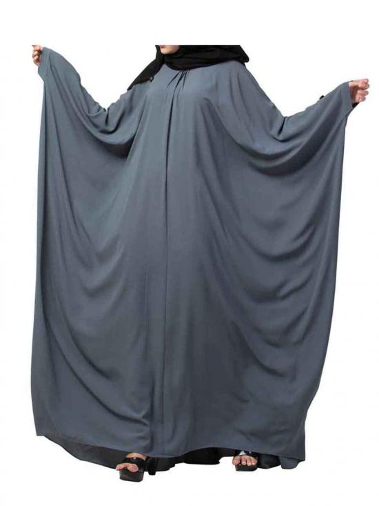 Nida Matte Simple and Elegant Islamic Kaftan Abaya With Pleats on Neck In Grey