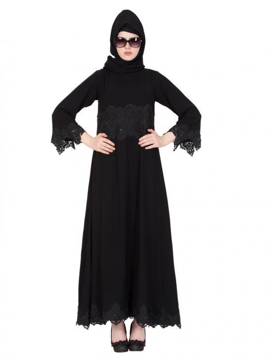 Nida Matte Princess Abaya With Lace In Black