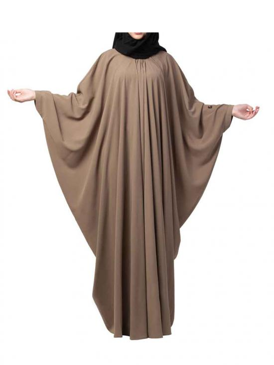 Nida Matte Simple And Elegant Islamic Kaftan Abaya With Pleats On Neck In Oat