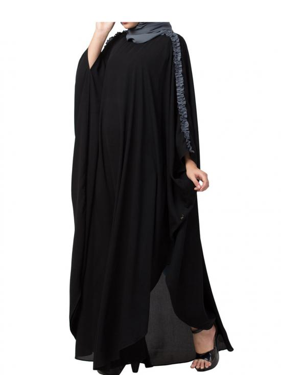 Nida Matte Modern Kaftan With Open Side Slits And Ruffles On Sleeves In Black