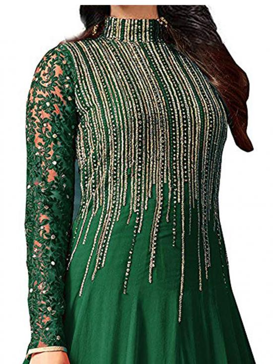 Fashion Basket Faux Georgette Embroidered Salwar Suit Gown in Green