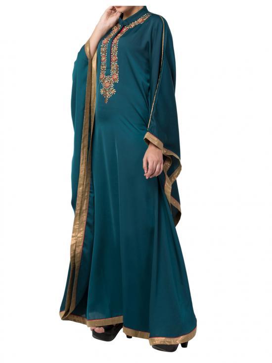 Royal Nida kaftan with Dabka Work In Green