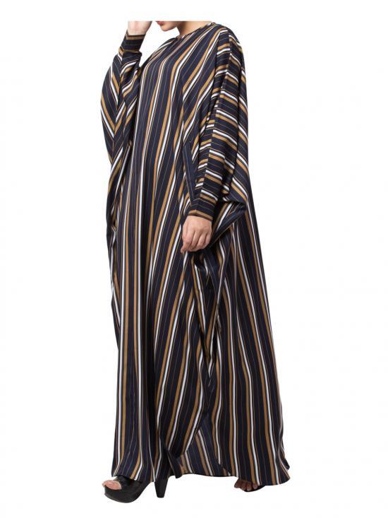 Crepe Kaftan Striped With Belt In Multi
