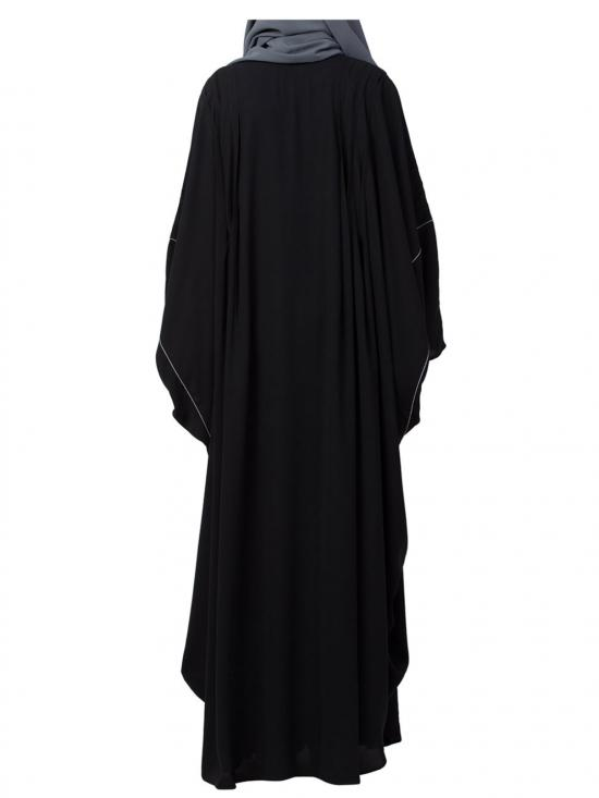 Nida Matte Islamic Kaftan Abaya With Pipings And Pleats In Black