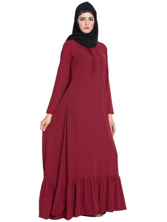 Nida Matte Aini Frilled Abaya With Pintucks in Maroon