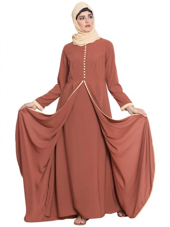 Nida Matte Hind Multi Layer Abaya With Frills And Loop Buttons in Rust
