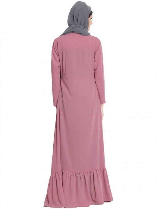 Nida Matte Aini Frilled Abaya With Pintucks in Puce Pink