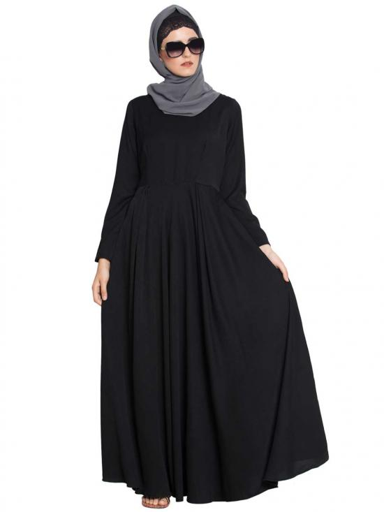 Polytwill Wafa A Stylish and Simple Abaya in Black