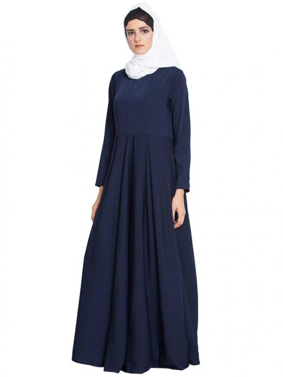 Polytwill Wafa A Stylish and Simple Abaya in Navy Blue