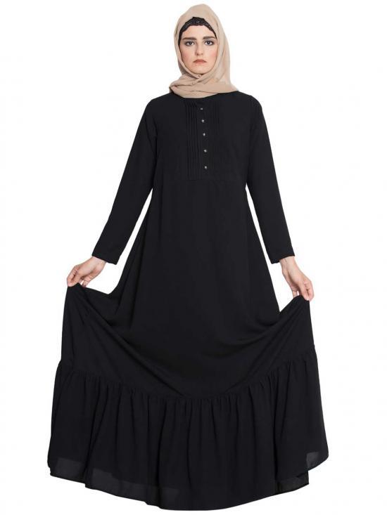 Nida Matte Aini Frilled Abaya With Pintucks in Black