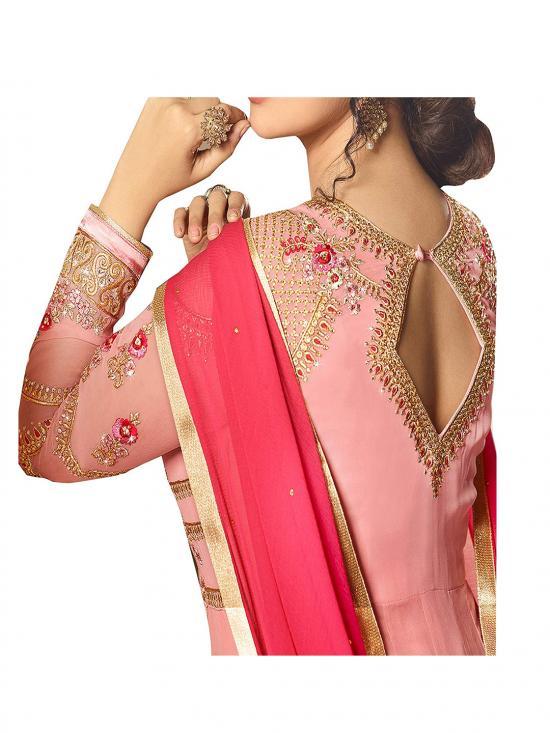 Fashion Basket Faux Georgette Embroidered Anarkali Salwar Suit in Pink