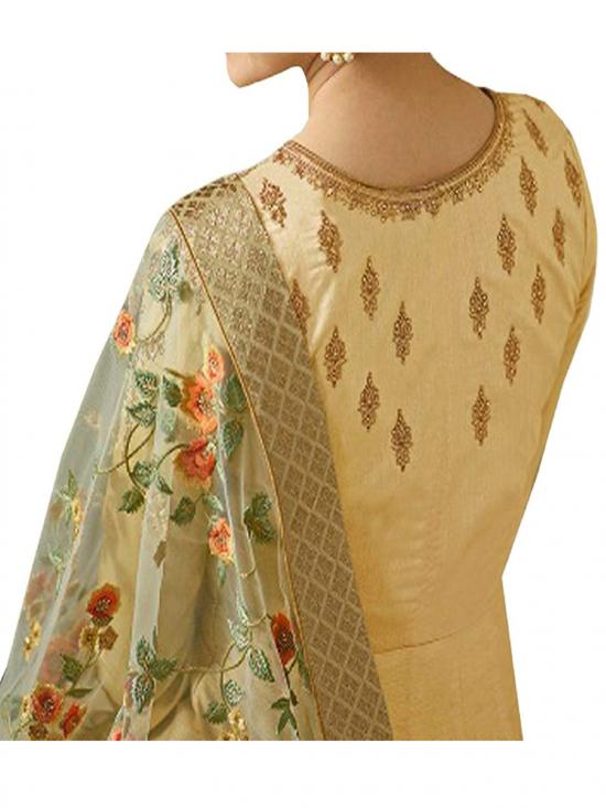 Fashion Basket Sana Silk Semi Stitched Gown in Beige