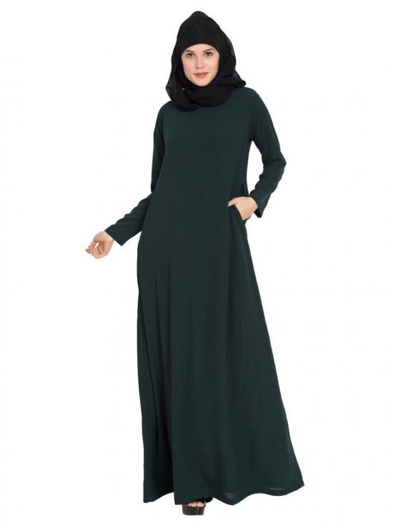 Nida Matte Simple A Line Abaya With Side Pockets In Dark Green