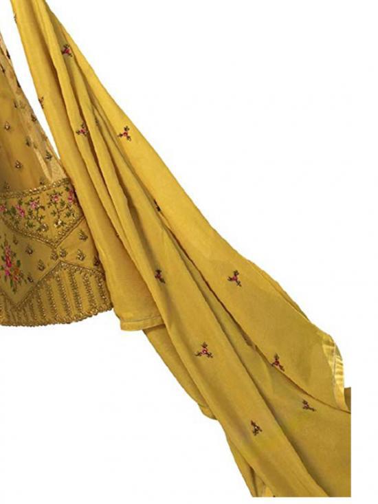 Fashion Basket Nylon Net Salwar Suit in Yellow
