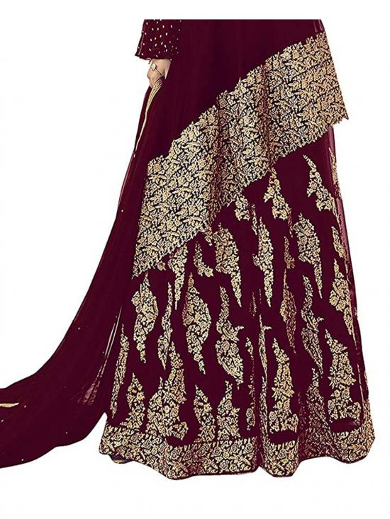 Fabzara Faux Georgette Embroidered Straight Salwar Suit in Maroon