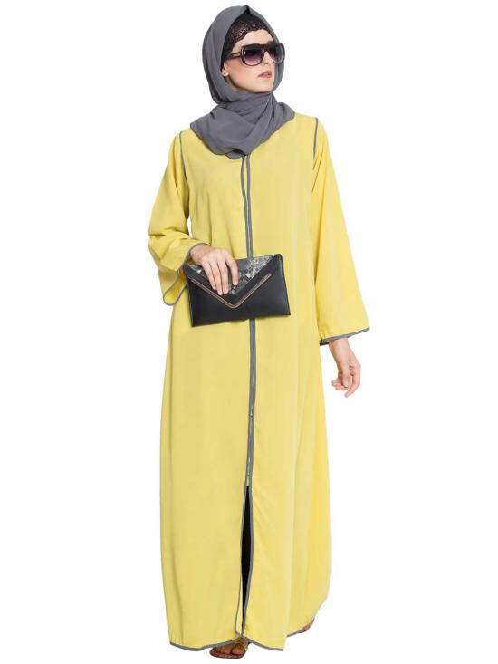 Nida Matte Reem Front Open Contrast Abaya With Pipens In Lemon Yellow