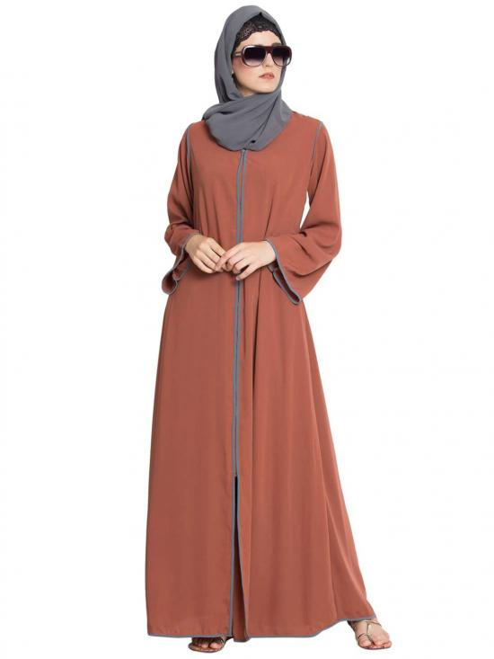 Nida Matte Reem Front Open Contrast Abaya With Pipens In Rust and Grey