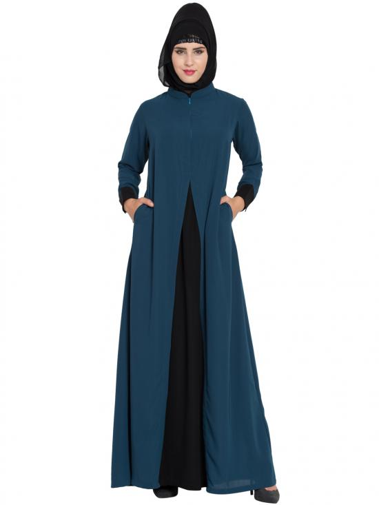 Nida Matte Abaya With Pockets In Dark Teal And Black