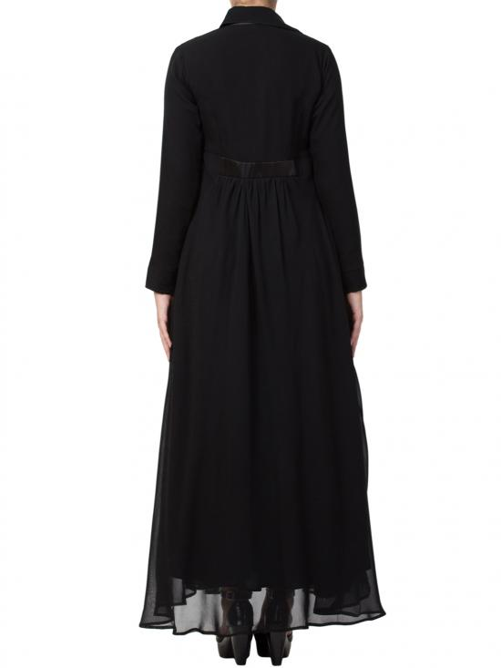 Nida Matte And Fine Georgette Modest Length Abaya In Black