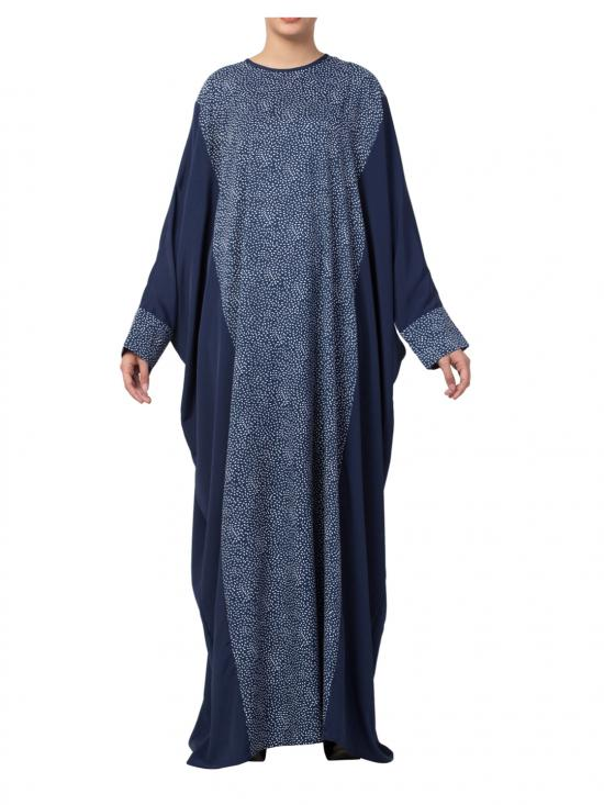 Crepe And Poly moss Printed Kaftan In Blue Multi