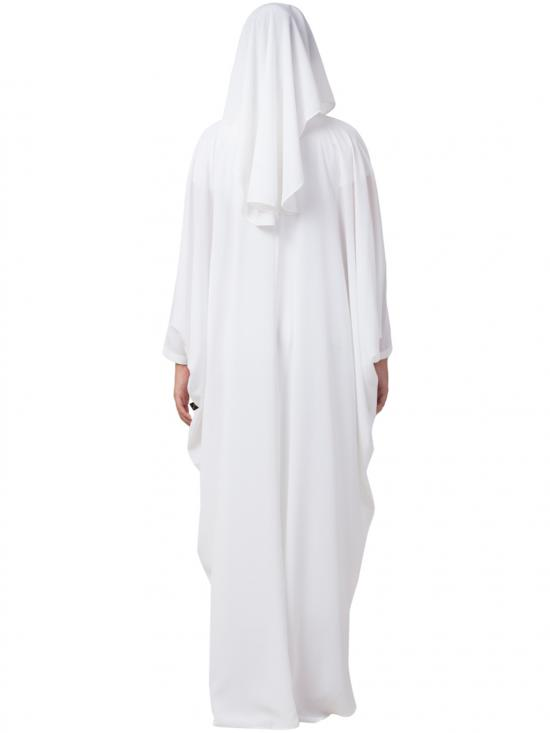 Nida Matte Kaftan And Naqaab Combo In White