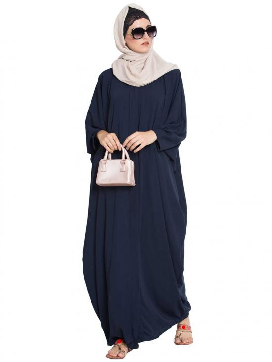 Nida Matte Afifa Front Open Kaftan Abaya With Snap Buttons in Navy Blue