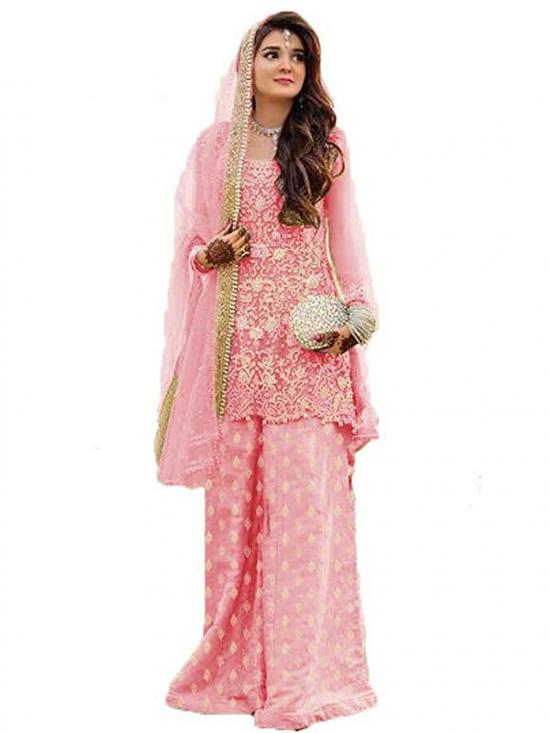 Fancy Lifestyle Pakistani Net Designer Sharara Bottom Print Dress in Pink