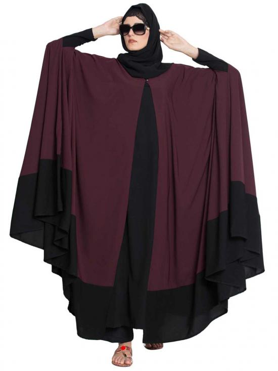 Nida Matte Doha Two Piece Designer Irani Kaftan In Wine And Black