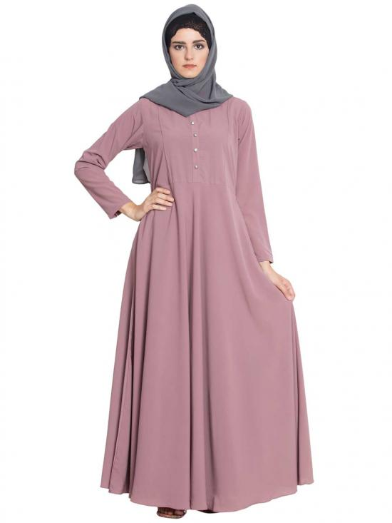 Nida Matte Sana Umbrella Cut Abaya With Buttons On Yoke in Puce Pink