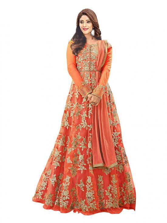Fashion Basket Net Embroidered Anarkali Salwar Suit in Orange