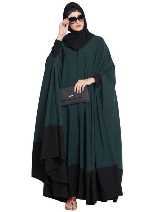 Nida Matte Doha Two Piece Designer Irani Kaftan in Green and Black