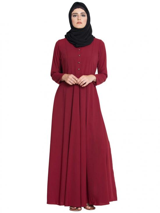 Nida Matte Sana Umbrella Cut Abaya With Buttons On Yoke In Maroon