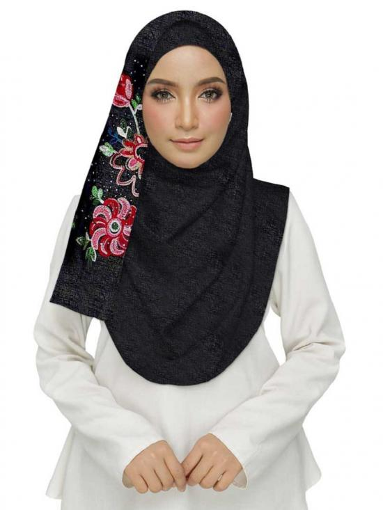 Cotton Designer Diamond Studed Embroidered Flower Hijab In Black