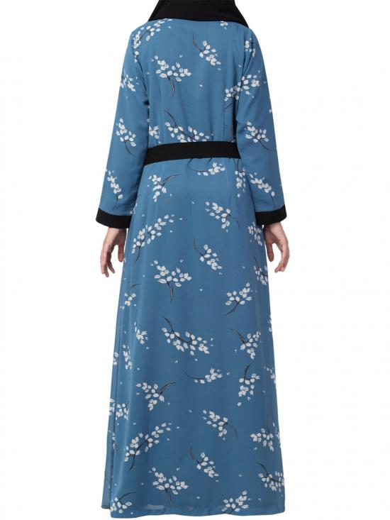 Nida Matte And Georgette Dual Layer Abaya With Printed Shrug Attached In French Blue And Black