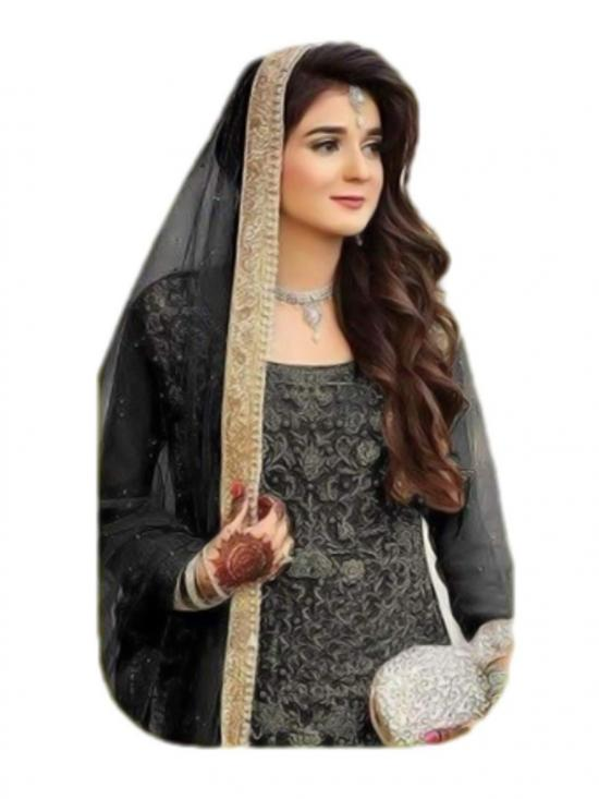 Fancy Lifestyle Pakistani Net Designer Sharara Bottom Print Dress in Black