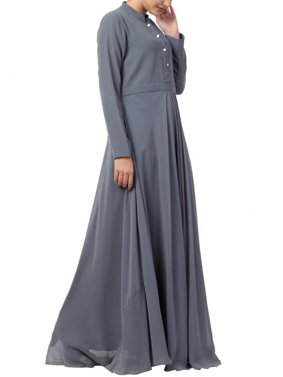 Nida Matte And Fine Georgette Modest Length Abaya In Grey