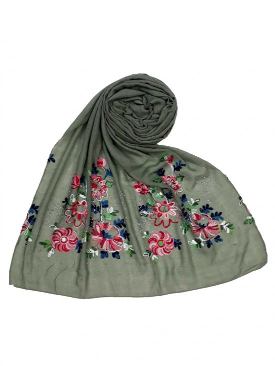 Cotton Designer Diamond Studed Embroidered Flower Hijab in Green
