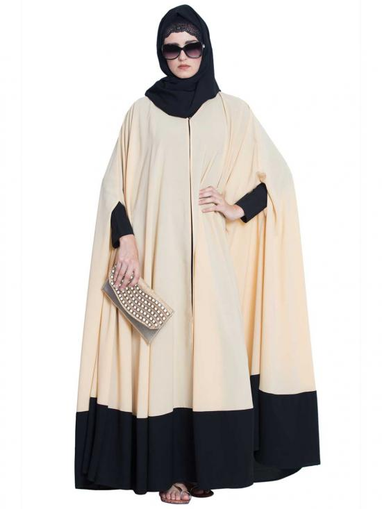 Nida Matte Doha Two Piece Designer Irani Kaftan in Beige and Black