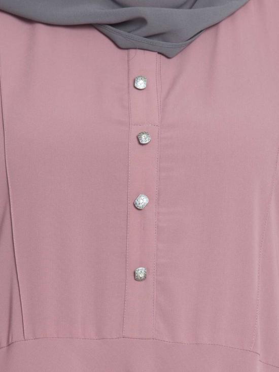 Nida Matte Sana Umbrella Cut Abaya With Buttons On Yoke in Puce Pink