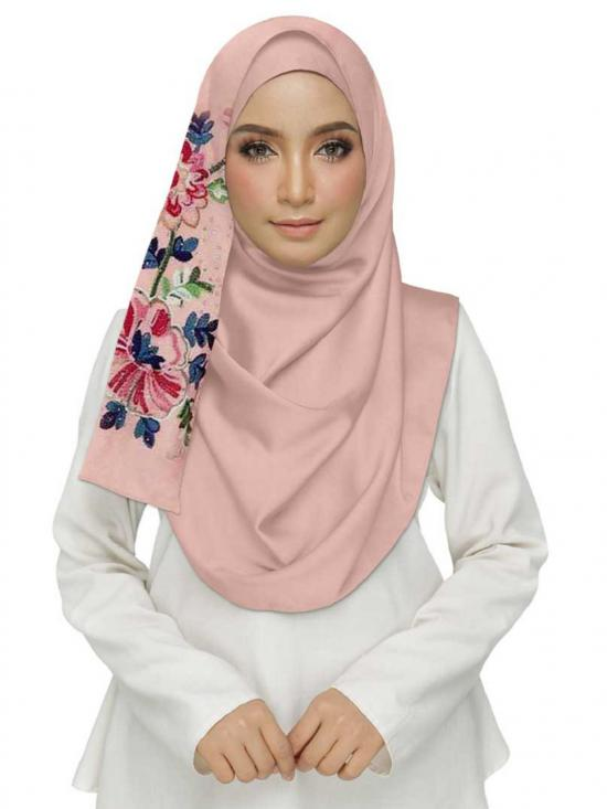 Cotton Designer Diamond Studed Embroidered Flower Hijab In Pink