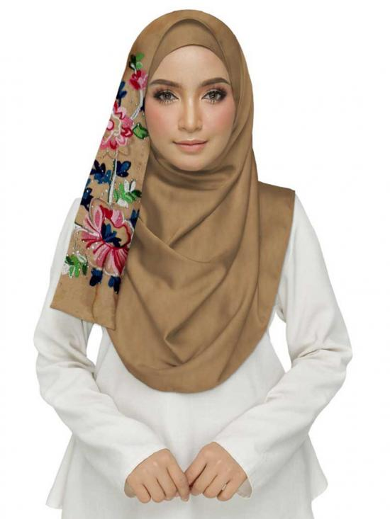 Cotton Designer Diamond Studed Embroidered Flower Hijab In Brown