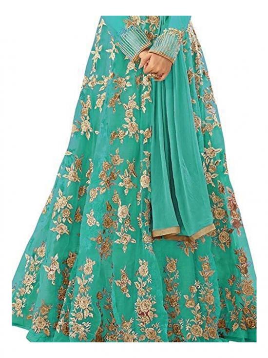 Fashion Basket Net Embroidered Anarkali Salwar Suit in Sky Blue