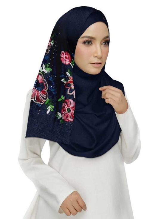Cotton Designer Diamond Studed Embroidered Flower Hijab in Blue