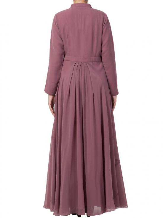 Nida Matte And Fine Georgette Modest Length Abaya In Puce Pink