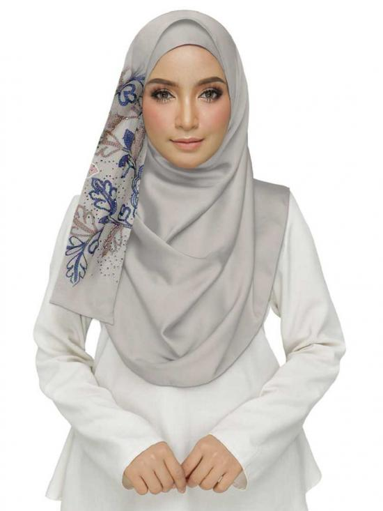 Cotton Designer Diamond Studed Embroidered Flower Hijab In White