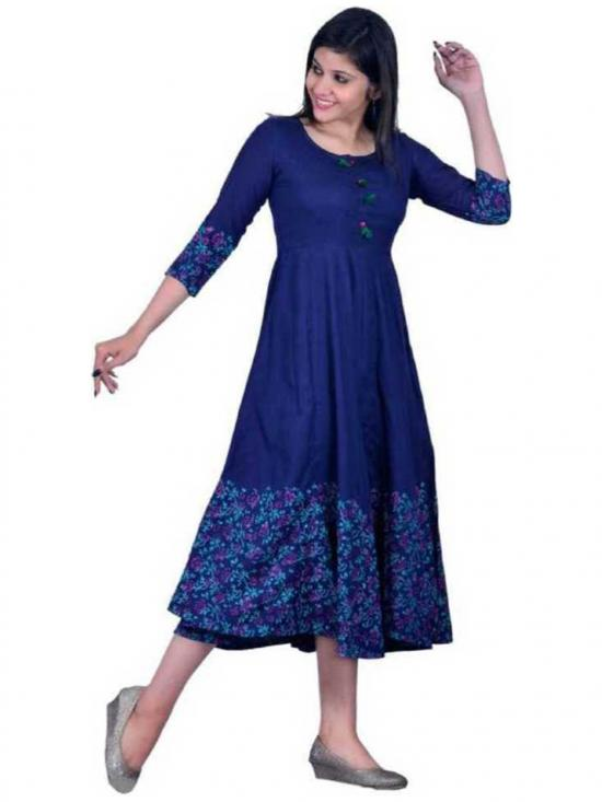 Jeevankala Printed Cotton Rayon Blend Asymmetric Kurti In Dark Blue