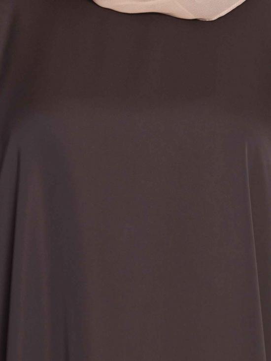 Rich Nida Haifa Elegant Kaftan Abaya With Side Slits in Brown and Rust